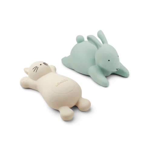 Liewood vikky kylpylelu cat & rabbit 2pack, creme/mint