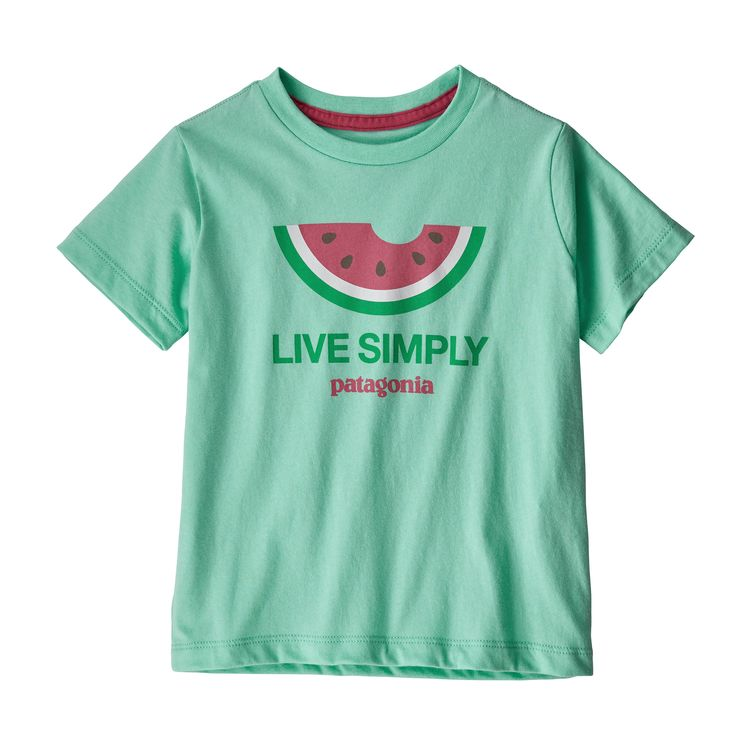 Patagonia baby live simply melon tee, vjosa green