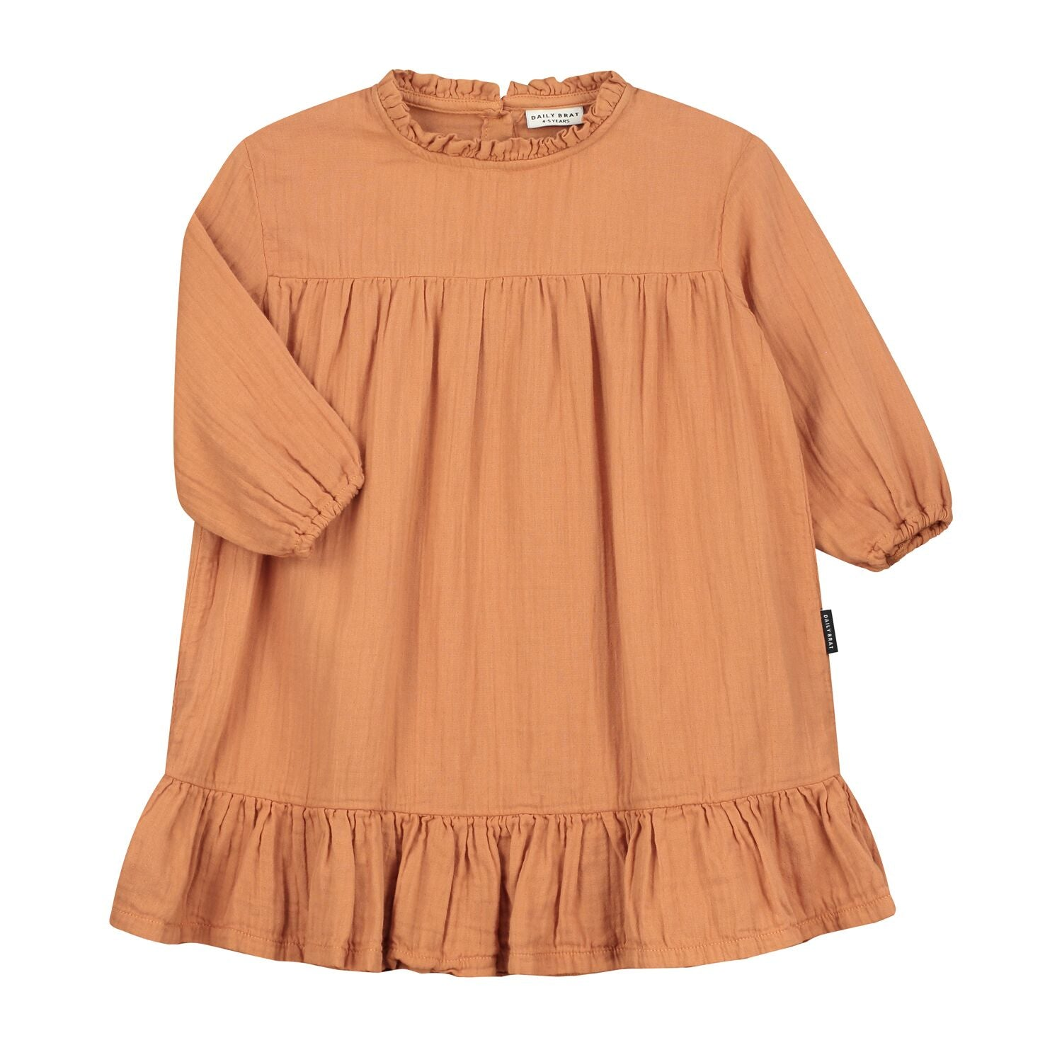 Daily Brat lois oversized ruffle mekko, canyon clay