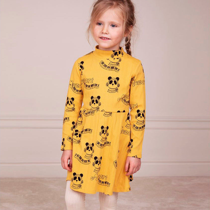 Mini Rodini mozart aop mekko, yellow