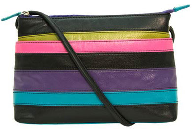 Genuine Leather East West Striped Cross body