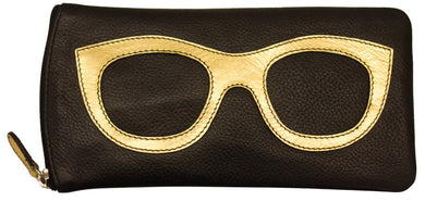 Genuine Leather Sunglasses Case Black/Gold
