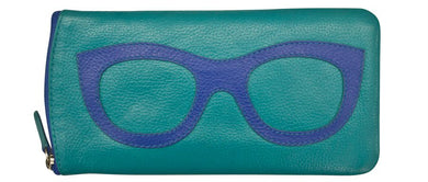 Genuine Leather Sunglasses Case Aqua/Cobalt