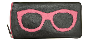 Genuine Leather Sunglasses Case Black/Pink
