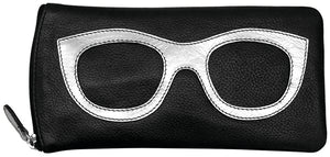 Genuine Leather Sunglasses Case Black/Silver