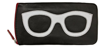 Genuine Leather Sunglasses Case Black/White/Red