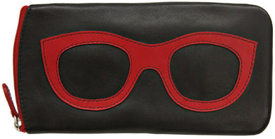 Genuine Leather Sunglasses Case Black/Red