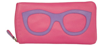 Genuine Leather Sunglasses Case Pink/Amethyst