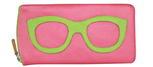 Genuine Leather Sunglasses Case Pink/Leaf