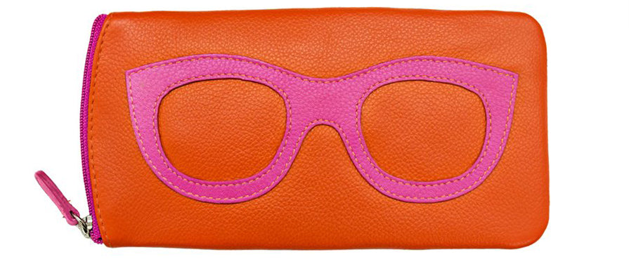 Genuine Leather Sunglasses Case Orange/Pink