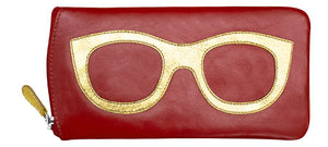 Genuine Leather Sunglasses Case Red/Gold
