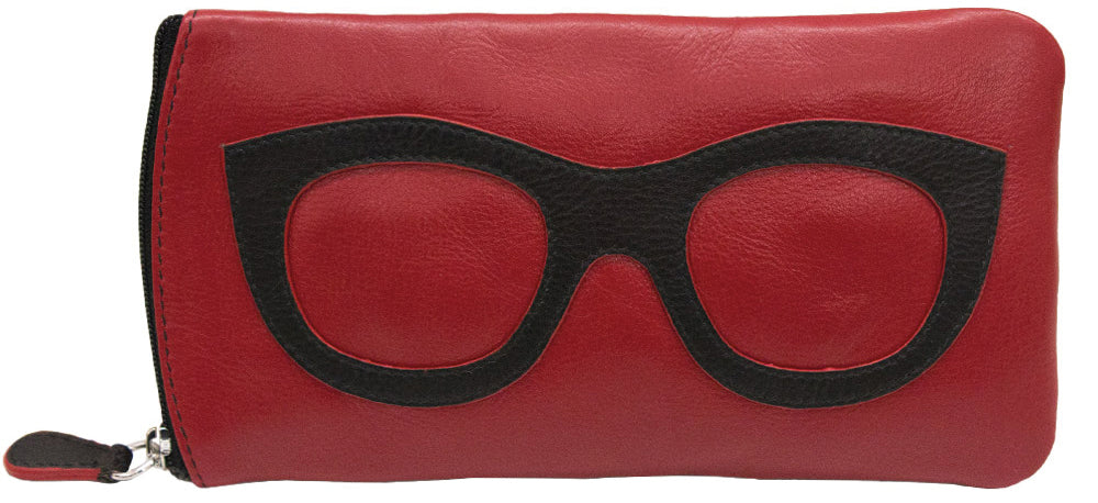 Genuine Leather Sunglasses Case Red/Black