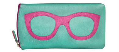 Genuine Leather Sunglasses Case Turq/Pink