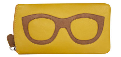 Genuine Leather Sunglasses Case Yellow Stone
