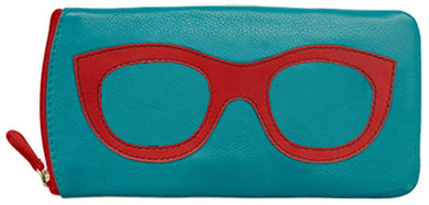 Genuine Leather Sunglasses Case Aqua/Red