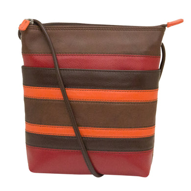 Genuine Leather Stripes Midi Cross Body Bag