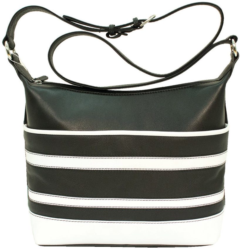Genuine Leather Hobo with Stripes