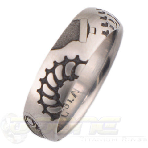 cyclist design laser engraved on titanium ring