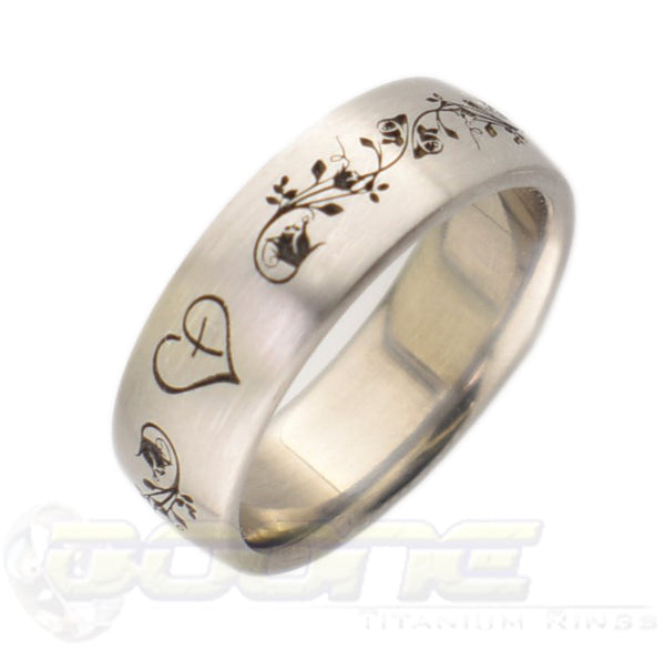 faith over fear design laser engraved in titanium ring