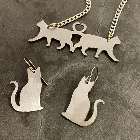 Cat Pendant and Earring Set