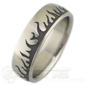 flames design laser engraved into titanium ring