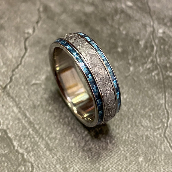 Meteorite with Twin Light Blue Carbon Fiber