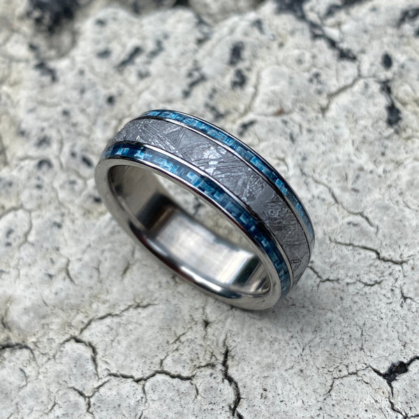 Meteorite with Twin Blue Carbon Fiber