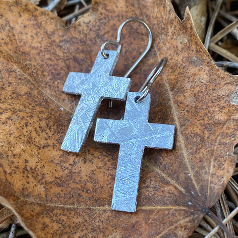 Meteorite Rugged Cross Earrings