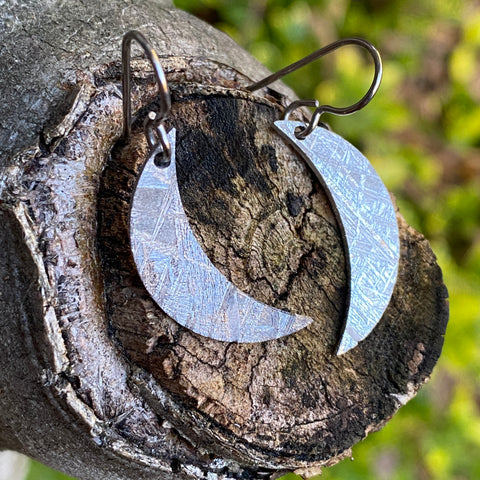 Meteorite Moon Earrings