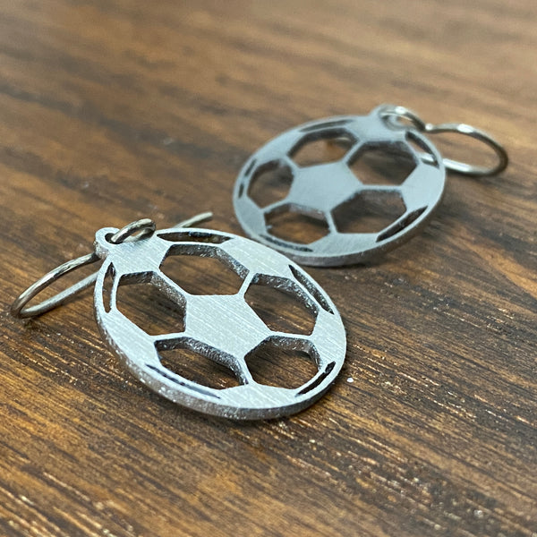 Titanium Soccer Ball Earrings