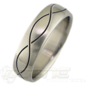 infinity design laser engraved into brushed titanium ring