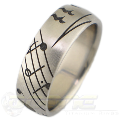 music symbols laser engraved into titanium ring