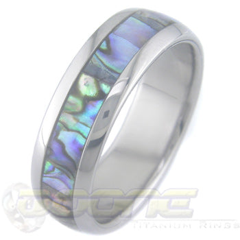boone titanium ring with abalone inlay