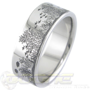 aquatic life laser engraved titanium ring