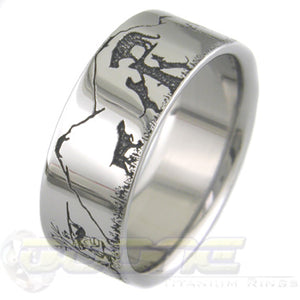bear and cougar laser engraved titanium ring