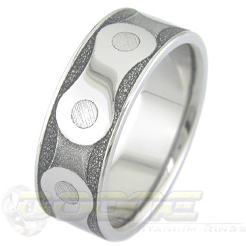 bicycle chain laser engraved titanium ring