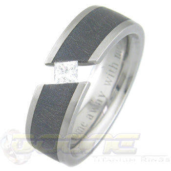 titanium ring with princess cut stone and black meteorite inlay