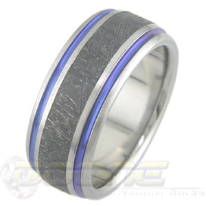 titanium ring with black meteorite inlay and blue twin color stripe