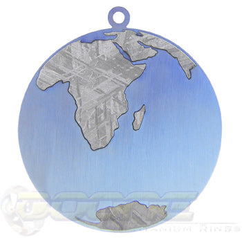 titanium anodized blue earth meteorite world pendant
