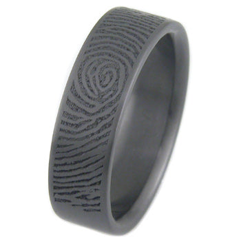 personalized fingerprint laser engraved black zirconium ring