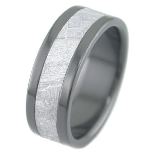 flat profile black zirconium ring with meteorite inlay