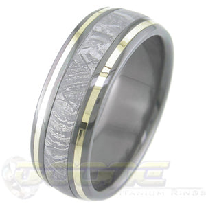 dome profile black zirconium ring with meteorite inlay and twin gold inlays on outer edges
