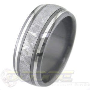 dome profile black zirconium ring with meteorite inlay and twin platinum inlays on outer edges
