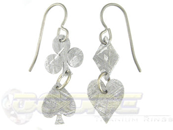 meteorite card suit dangle earrings