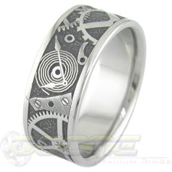 chronos design laser engraved on titanium ring