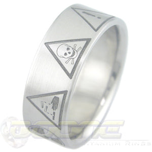 danger emblems laser engraved on titanium ring