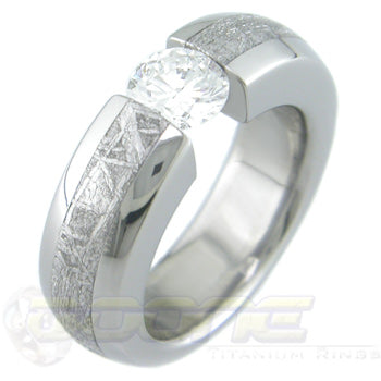 dome profile titanium eccentric tension set ring with meteorite inlay