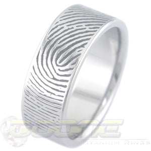 custom fingerprint design laser cut into titanium ring