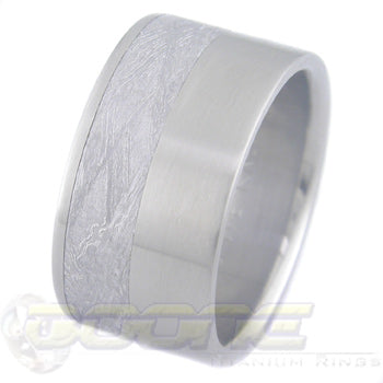flat profile titanium ring with offset meteorite inlay