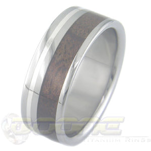 flat profile titanium ring with wide wood inlay and thin silver inlay